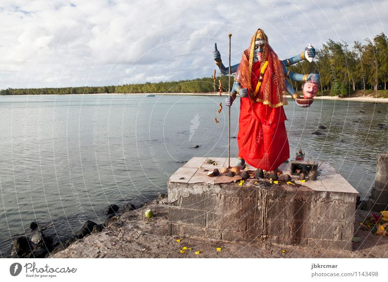 Statue of Indian deity Kali in Mauritius Sightseeing Ocean Island Art Sculpture Religion and faith Colour photo Multicoloured Exterior shot Deserted