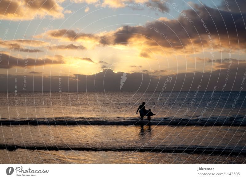 Surfer and son on the beach in Mauritius at sunset Exotic Athletic Senses Calm Leisure and hobbies Surfing Vacation & Travel Adventure Summer vacation Ocean