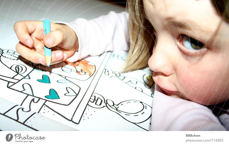 Child Blue Girl Joy Funny Heart Leisure and hobbies Beginning New Bathroom Creativity Painting (action, work) Image Concentrate Draw Kindergarten