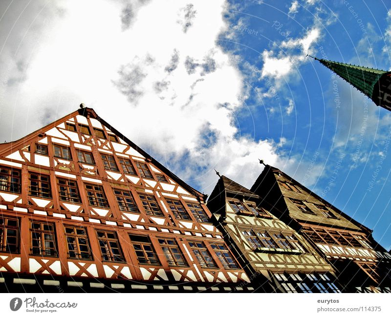 House wall. House (Residential Structure) Clouds Half-timbered facade Frankfurt Window Church spire White Craft (trade) Römerberg Historic house wall Sky Blue