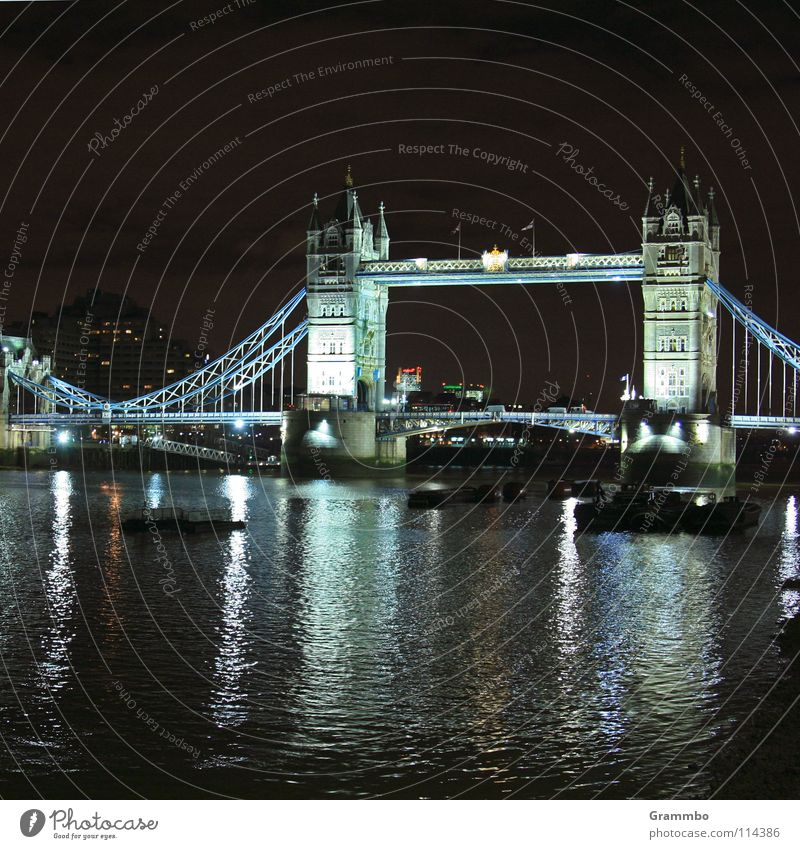 Tower Bridge in cold light London Themse Night Dark City trip Trip To go for a walk Town Europe Cold King Watercraft Vacation & Travel Going Historic