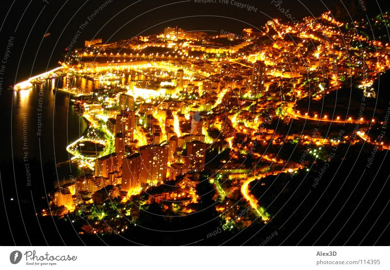 Monaco at night Night Black Europe Light Harbour Mediterranean sea Gold Casino Life