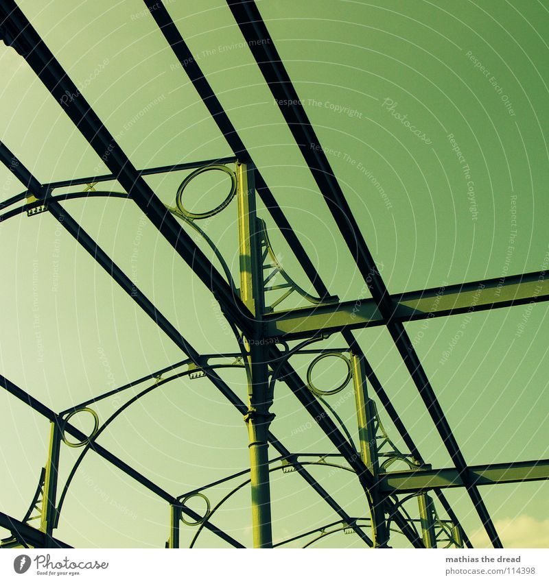 Sky Green Metal Tall Corner Industry Round Historic Steel Hollow Transparent Construction Iron Warehouse Sharp-edged