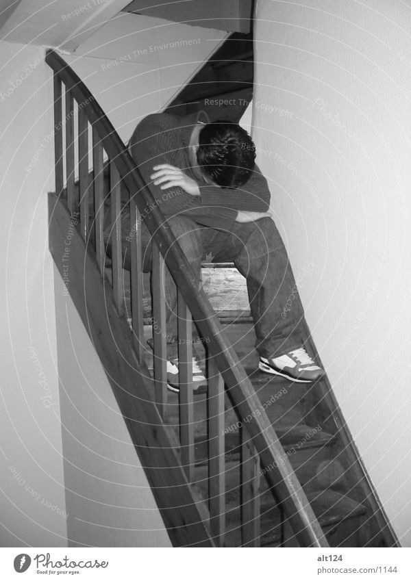 stair sitter Wood Footwear Human being Stairs Black & white photo Hair and hairstyles