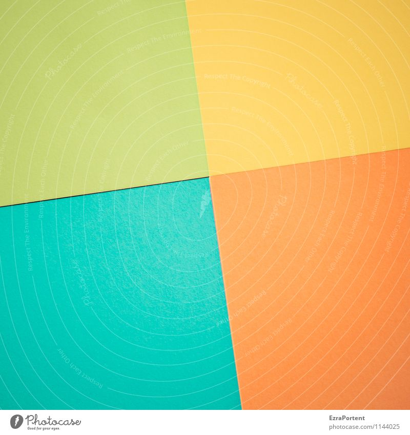 Blue Green Colour Yellow Line Bright Orange Design Esthetic Paper Illustration Tilt Many Turquoise Graphic Geometry