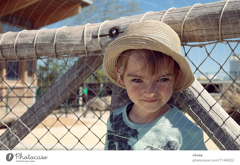 safari Child Boy (child) Infancy Face 1 Human being 3 - 8 years Plant Animal Cloudless sky Beautiful weather Desert T-shirt Hat Cap Wild animal Zoo Sand Observe