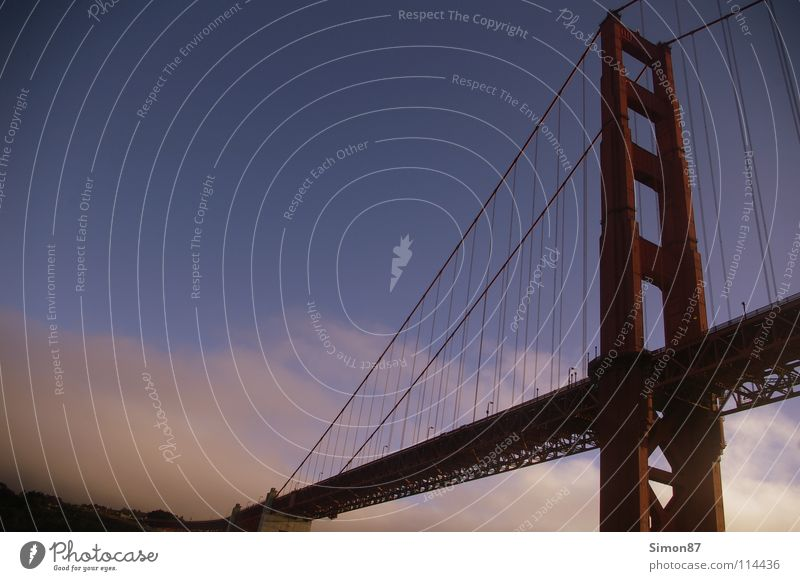 Golden Gate Bridge San Francisco Ocean Monument Red Evening Bay Sky Architecture
