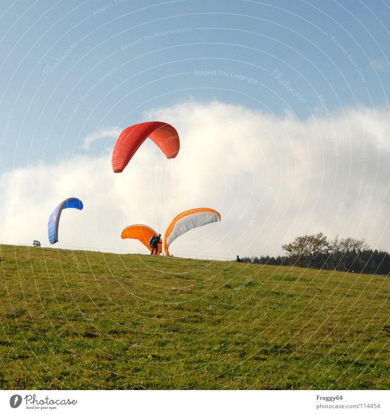 Joy Colour Sports Orange Beginning Romance Paragliding Sky blue Paraglider Freiburg im Breisgau Black Forest Play of colours Schauinsland Monitoring