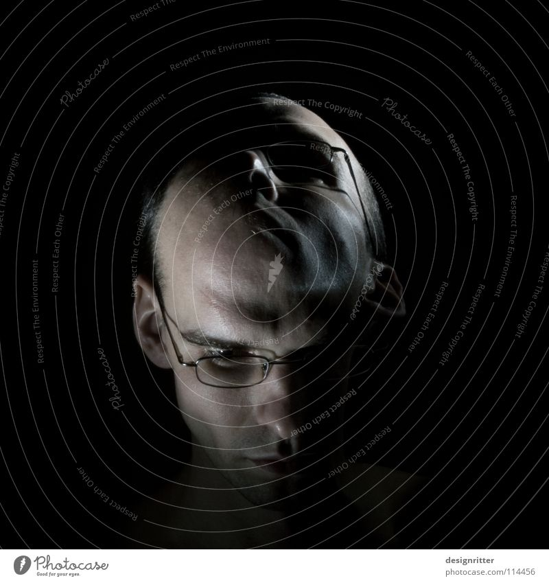 Cheer up! Man Portrait photograph Silhouette Under Exchange Change Opinion Grief Light Dark Self portrait Long exposure Head Face Profile Looking Above