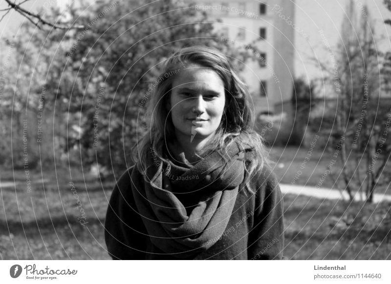 Berlin Portrait F#4a Woman Portrait photograph Natural Freckles Black & white photo Scarf German