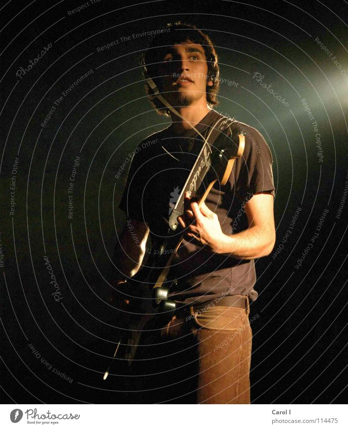 Man Black Dark Sadness Music Art Leisure and hobbies String Shows Musician Rock music Concert Smoke Stage Guitar Fame