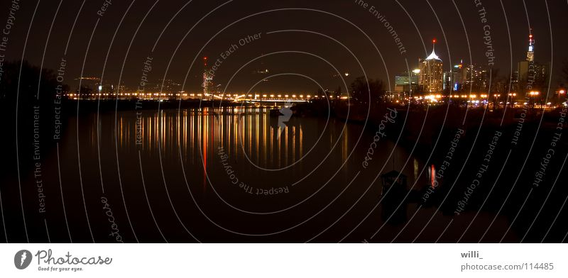 Water Dark Bridge River Skyline Brook Vienna Refraction Austria Danube Sea of light Danube Island