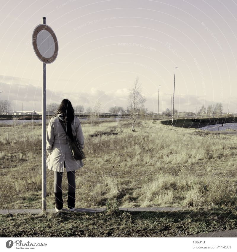 Human being Woman Green Water Loneliness Far-off places Meadow Lanes & trails Grass Feminine Signs and labeling Stand Empty Wait Signage Closed