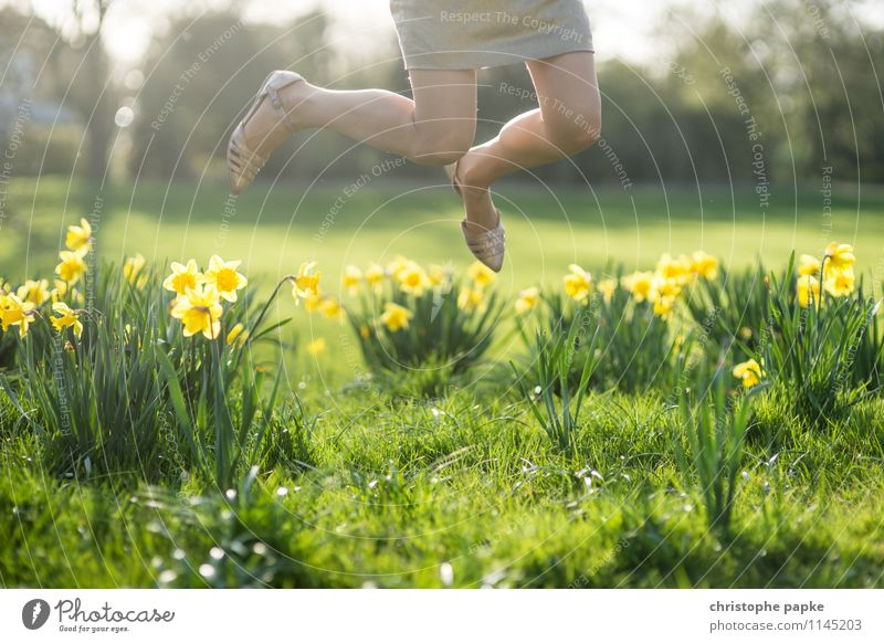 Human being Nature Plant Summer Relaxation Flower Leaf Joy Spring Blossom Meadow Feminine Grass Happy Garden Legs