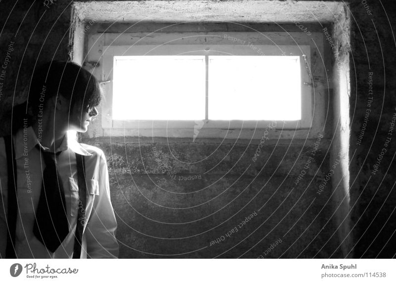 - when darkness turns to light - Black & white photo Interior shot Contrast Upper body Profile Style Cellar Feminine Young woman Youth (Young adults) 1