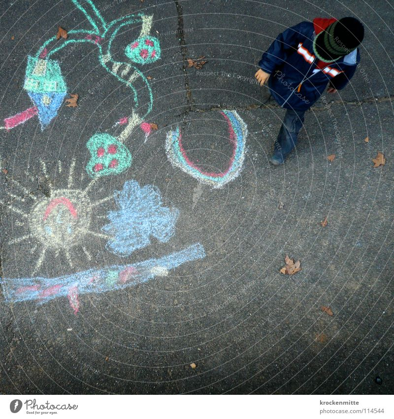 Child Colour Street Playing Boy (child) Painting (action, work) Asphalt Toddler Painting and drawing (object) Chalk Paradise Rainbow Drawing Pastel tone Street painting Chalk drawing