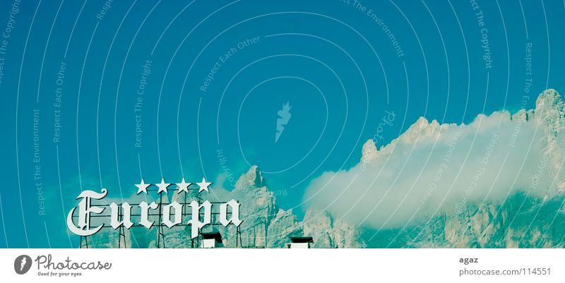 Blue Winter Vacation & Travel Clouds Above Mountain Tall Europe Star (Symbol) Switzerland 4 Hotel Song Text Rescue Conceptual design