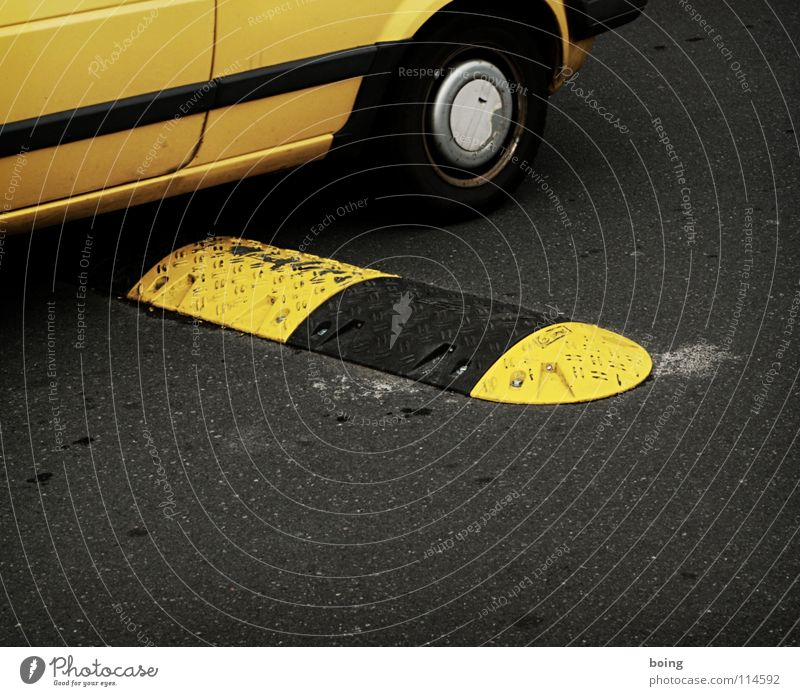 Black Yellow Street Car Services Traffic infrastructure Mail Partially visible Section of image Slowly Delivery person Wheels Postman Lane markings Warning colour Warning stripes