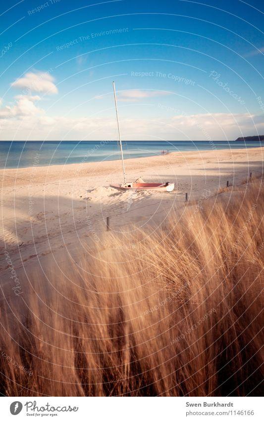 Nature Vacation & Travel Blue Summer Sun Ocean Calm Beach Far-off places Yellow Coast Horizon Lie Tourism Waves Island