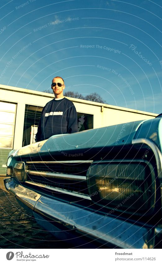 Sky Blue Car Retro Floodlight Vintage car Car headlights Iconic Driver Car driver Collector's item Radiator  grille Manta driver