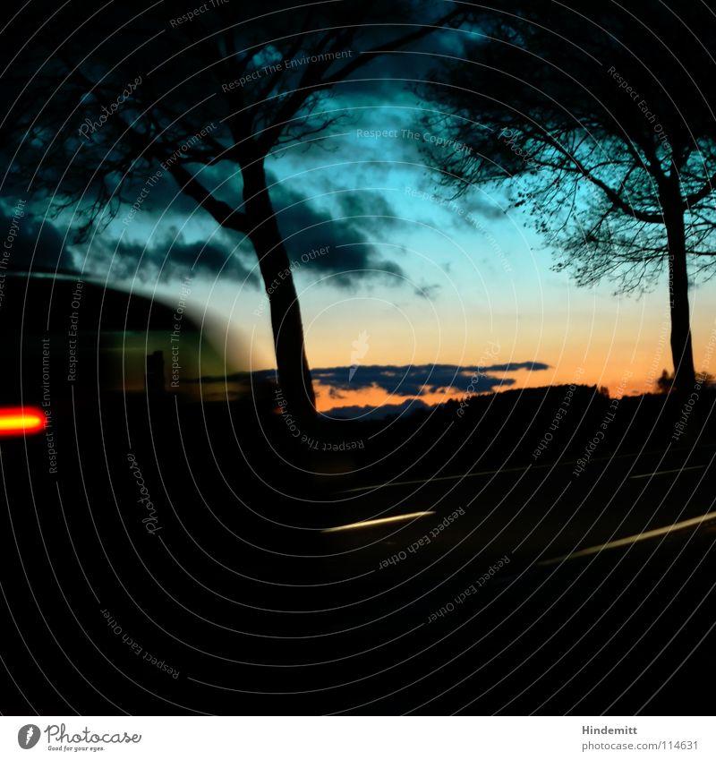 Sky Blue Green Tree Red Clouds Winter Dark Street Autumn Lighting Lamp Bright Rain Orange Car