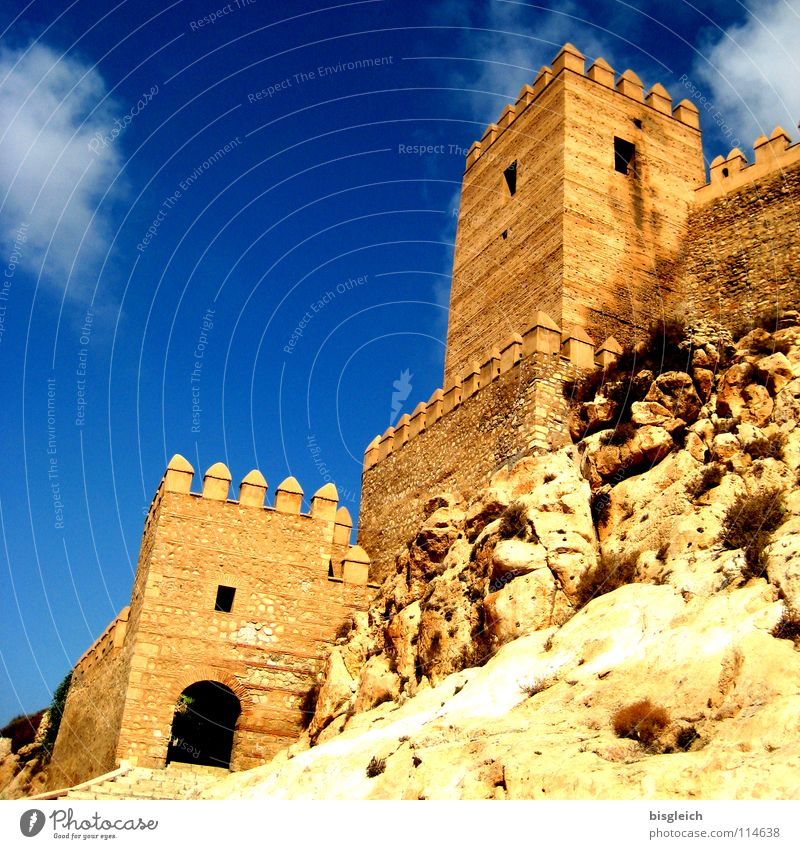 Alcazar, Almeria (Spain) Colour photo Exterior shot Deserted Copy Space left Copy Space top Worm's-eye view Sky Rock Europe Ruin Tower Manmade structures