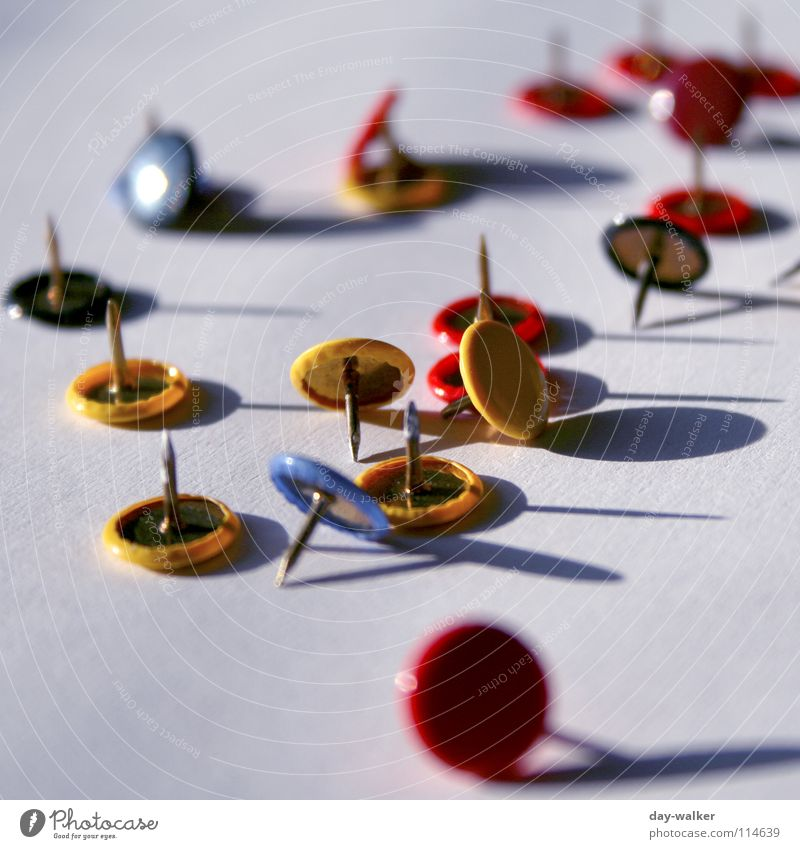 occupational hazard Red Yellow Useful Multicoloured Blur drawing pins Colour Blue Shadow Pain Point unsorted Close-up Desk Perspective Sharp thing