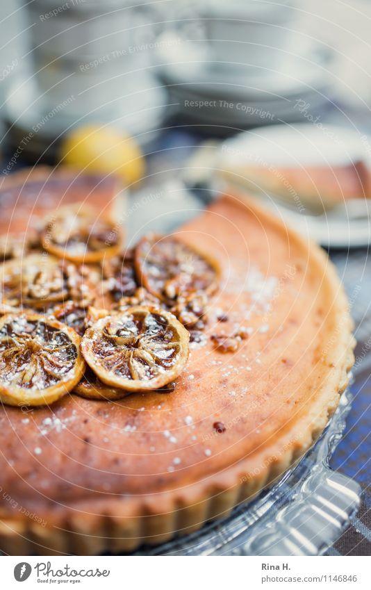 Lemon Ricotta Tart III Cake Crockery Plate Cup Delicious Sweet food Slice of lemon lemon tart Cake plate Tablecloth Colour photo Exterior shot Deserted