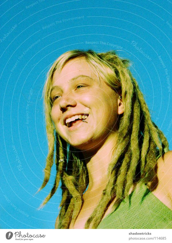 Laughin' loud Woman Dreadlocks Blonde Hair and hairstyles Reggae Style Alternative Portrait photograph Whim Good Happiness Brilliant Human being Laughter funky