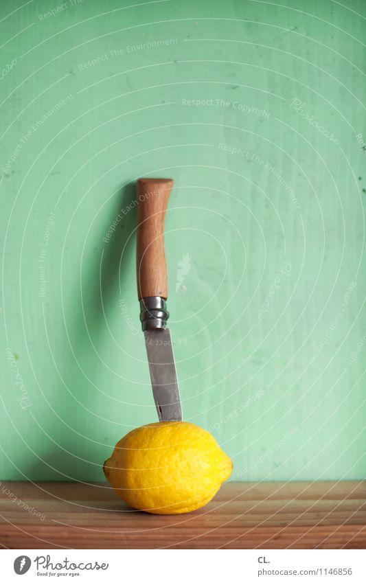 knife in lemon Food Fruit Lemon Nutrition Eating Knives Healthy Eating Wood Fresh Yellow Colour photo Interior shot Deserted Day