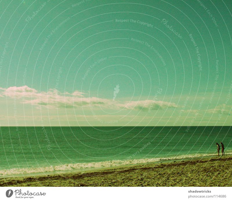 Human being Sky Nature Blue Water Vacation & Travel Green Ocean Beach Clouds Far-off places Sand Earth Couple 2 Line