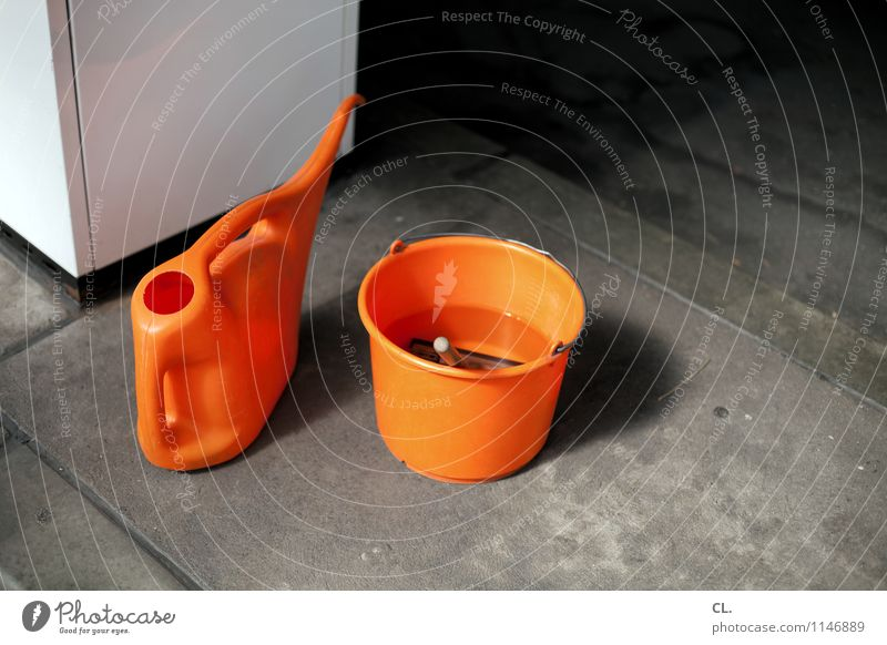 petrol station Transport Bucket Petrol station Canister Orange Refuel Cleaning Colour photo Exterior shot Deserted Day