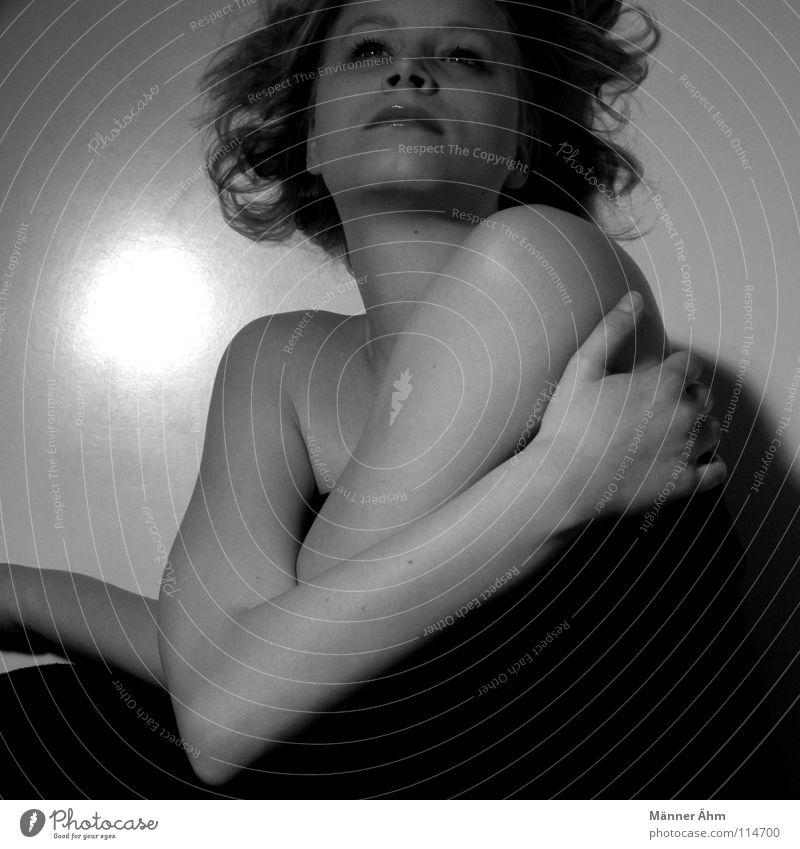 Woman White Beautiful Black Loneliness Face Dark Think Lie Perspective To hold on Trust Blanket Shoulder Feeble Embrace