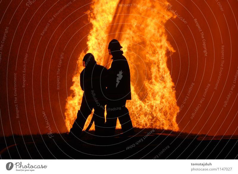 firemen at work Profession Man Adults Hot Tall Safety Fireman flame Blaze burn big huge danger hazard risk lethal protect service Public water spray Hose