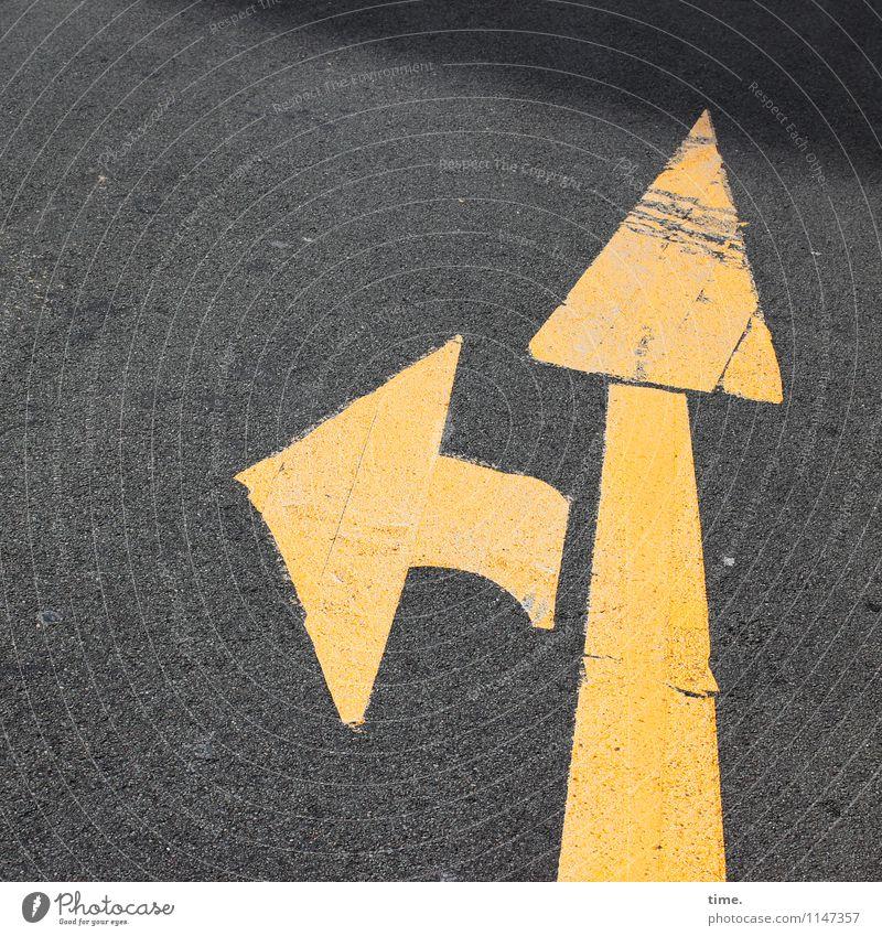 Orientation | Another Black Friday Transport Traffic infrastructure Passenger traffic Street Lanes & trails Road sign Asphalt Tar Line Arrow Esthetic Dark