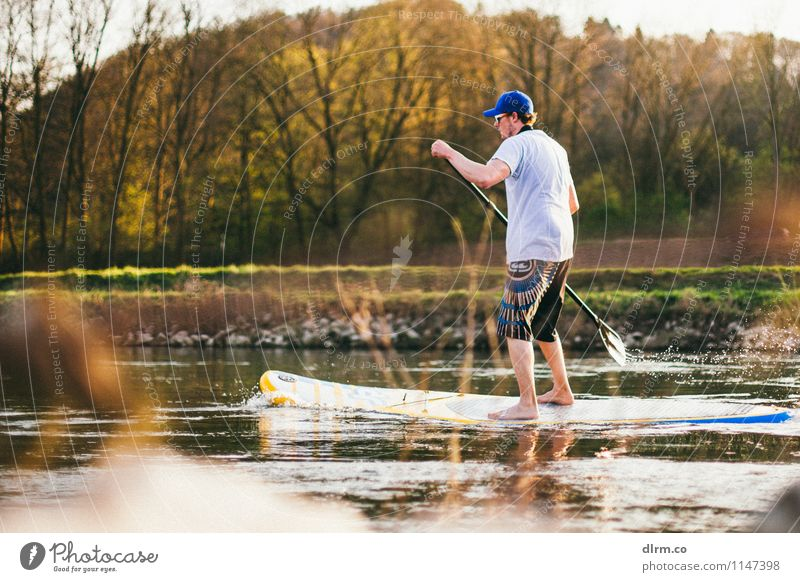 SUP on the Ruhr Lifestyle Leisure and hobbies Vacation & Travel Adventure Freedom Sports Aquatics SEA Standup Paddling Human being Masculine 18 - 30 years