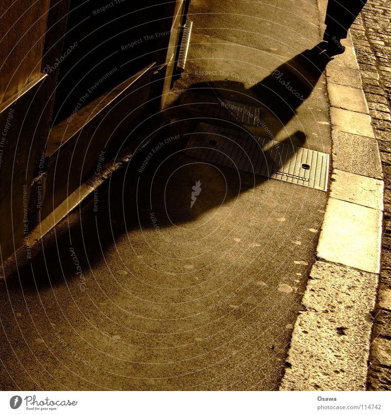 Graz Sporgasse II Sidewalk Curbstone Asphalt Back-light Drop shadow Anger Aggravation Street Shadow Human being