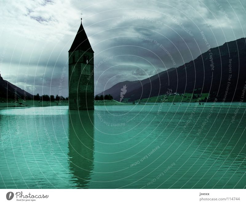 The downfall of faith? Mountain Clock Energy industry Water Sky Clouds Bad weather Lake Church Old Historic Green Religion and faith Decline Past Church spire
