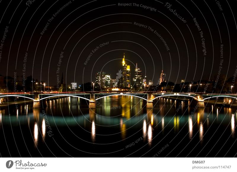 Skyline Mainhattan Style Town Architecture Design Success Might SME Services Tourism Logistics Vacation & Travel Frankfurt Night