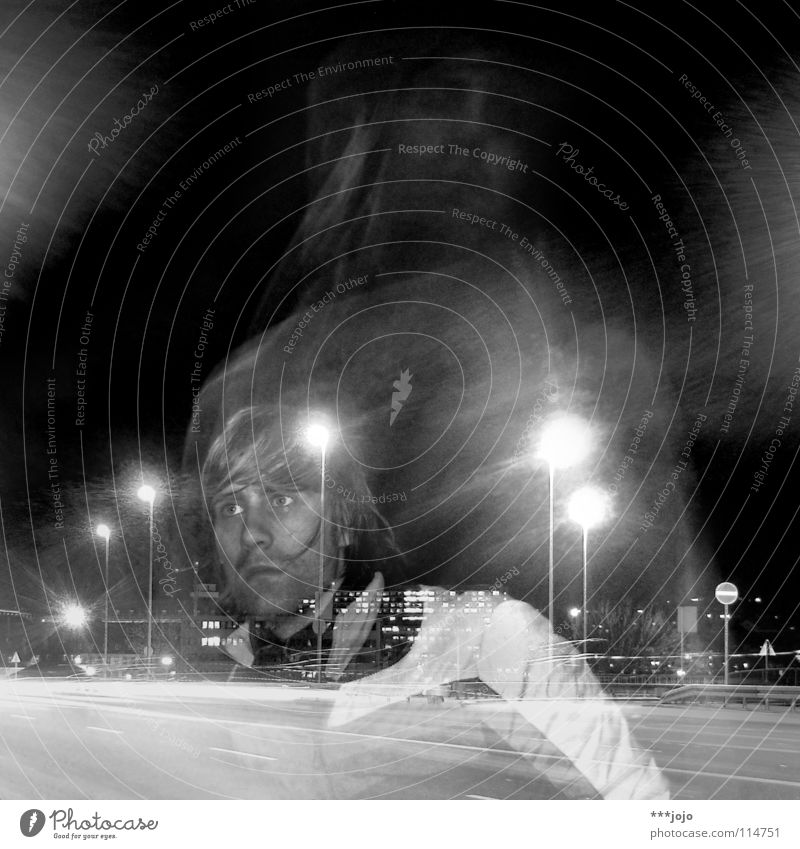 over my head. Long exposure Virgin Mary Man Transport Highway Night Town Street lighting Lantern Self portrait Transparent Youth (Young adults)