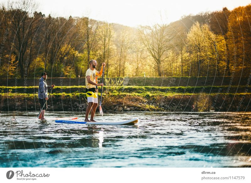 SUP Standup Paddling on the Ruhr River Lifestyle Healthy Athletic Fitness Relaxation Calm Leisure and hobbies Sports Aquatics SEA Friendship Nature Water Spring