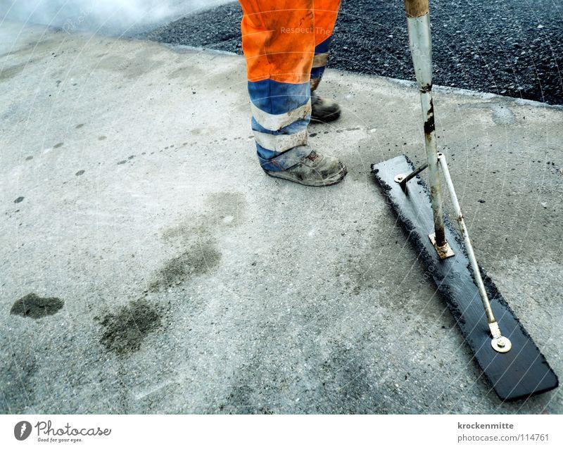 Man Street Work and employment Footwear Orange Asphalt Hot Smoke Traffic infrastructure Working man Tar Workwear Road construction