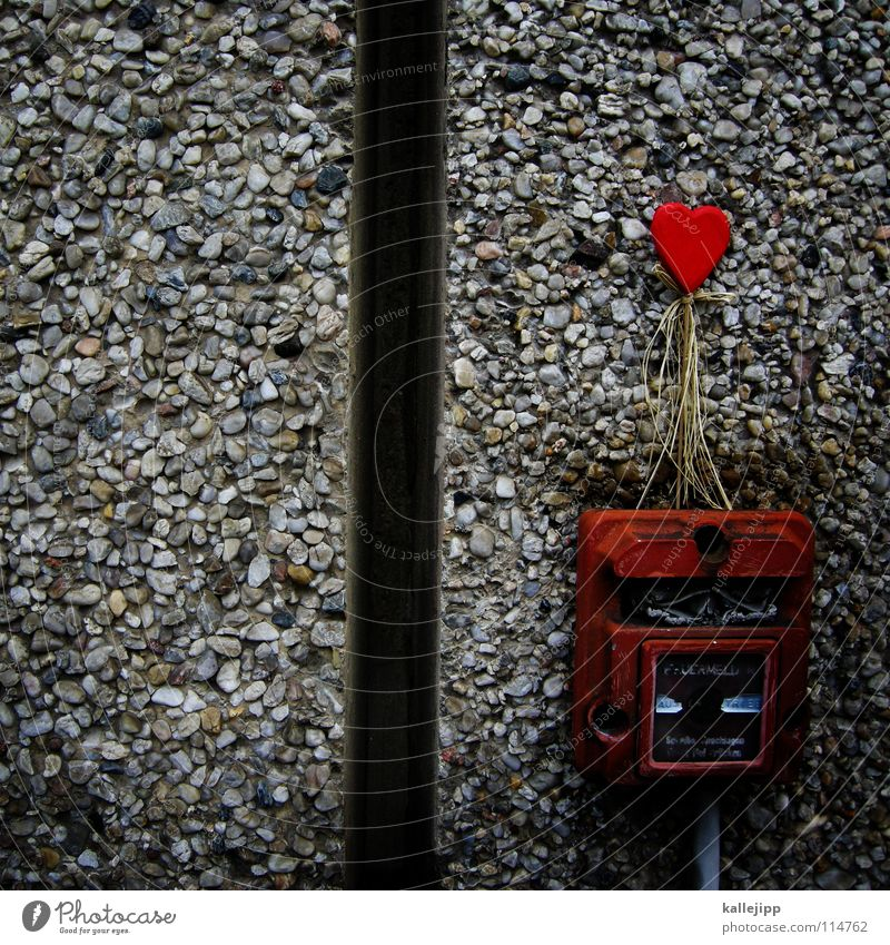 Old Red Love Wall (building) Gray Couple 2 Together Power Heart Dangerous Blaze Safety Symbols and metaphors End Longing