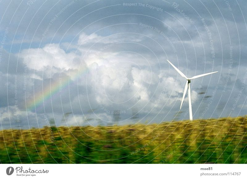 rapeseed trip Agriculture Rainbow Clouds Ecological Electricity Summer Baltic Sea Energy industry Wind energy plant