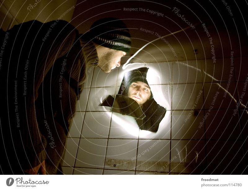 Face Dark Bright Dirty Glass Electricity Mirror Tile Creepy Derelict Cap Broken Surrealism Illuminate Thief Frame