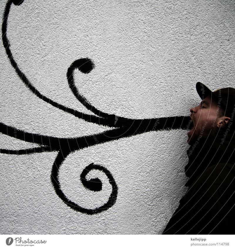 poetry Man Rhyme Poem Verse Philosopher Vomiting Word Baseball cap Cap Wall (building) Curlicue Circle Decoration Graffiti Scream Declaration of love Ornate