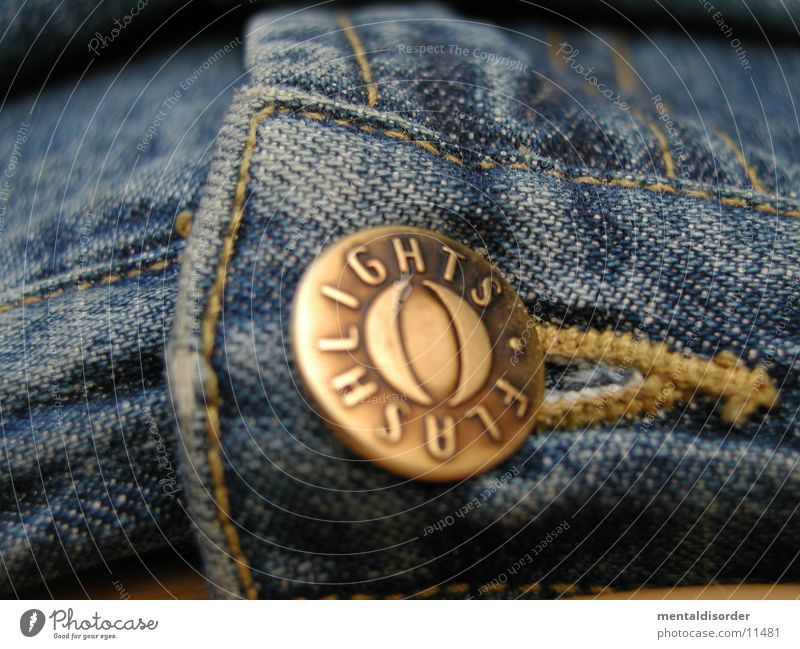 Blue Yellow Jeans Things Pants Buttons Stitching Brass
