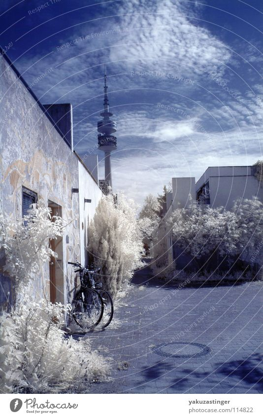 Sky Blue White Munich Horizon Concrete Bushes Beige Ivy Gully Infrared Bavaria Infrared color Olympic Tower Olympic village