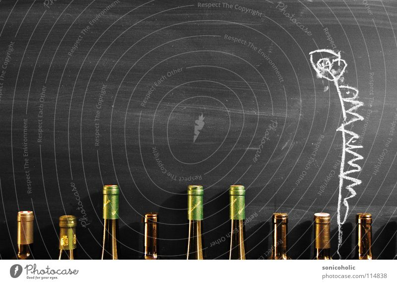 Fine dining Blackboard Painting and drawing (object) Growth Maturing time Cork Bottle of wine Flower Alcoholic drinks Drawing Chalk Chalk drawing