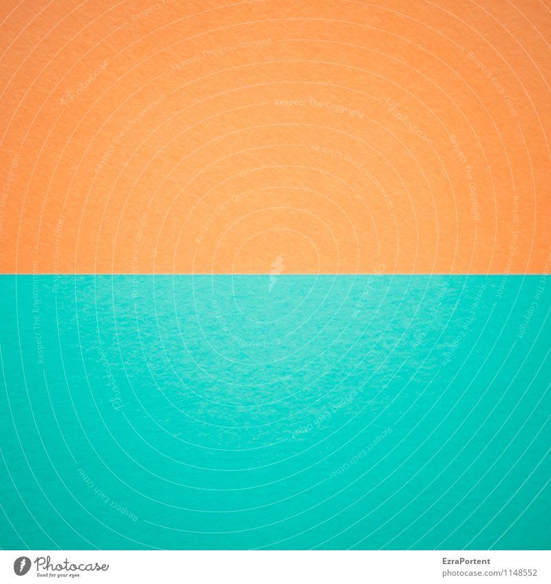 O-T Design Handicraft Line Esthetic Blue Orange Turquoise Colour Illustration Associative Graph Graphic Dividing line Direct Horizontal Paper Match Geometry